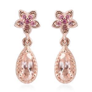 Marropino Morganite, Morro Redondo Pink Tourmaline Vermeil RG Over Sterling Silver Flower Drop Earrings TGW 1.25 cts.