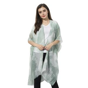 Green and White 100% Viscose Kimono (36x33 in)