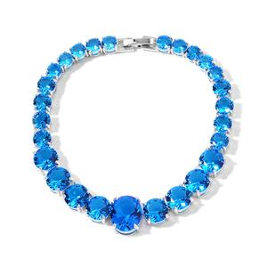 TLV Simulated Blue Topaz Silvertone Line Bracelet (7.50 In) TGW 50.00 cts.