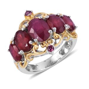 Niassa Ruby, Orissa Rhodolite Garnet Vermail YG Over and Sterling Silver Ring (Size 7.0) TGW 5.25 cts.
