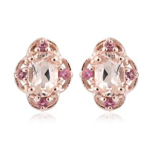 Marropino Morganite, Morro Redondo Pink Tourmaline Vermeil RG Over Sterling Silver Stud Earrings TGW 0.99 cts.