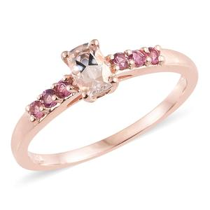 Marropino Morganite, Morro Redondo Pink Tourmaline Vermeil RG Over Sterling Silver Ring (Size 7.0) TGW 0.74 cts.