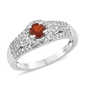 Crimson Fire Opal, Cambodian Zircon Platinum Over Sterling Silver Ring (Size 7.0) TGW 0.95 cts.