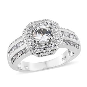Brazilian Goshenite, White Topaz Platinum Over Sterling Silver Ring (Size 7.0) TGW 1.75 cts.