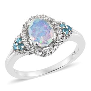 Ethiopian Welo Opal, Multi Gemstone Platinum Over Sterling Silver Halo Ring (Size 11.0) TGW 1.78 cts.