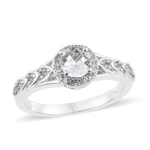 Natural White Zircon Platinum Over Sterling Silver Ring (Size 6.0) TGW 1.53 cts.