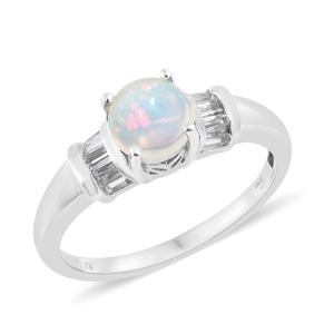Ethiopian Welo Opal, White Topaz Platinum Over Sterling Silver Ring (Size 5.0) TGW 1.33 cts.