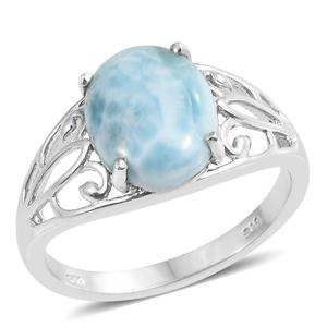 BUDGET PAY BONANZA Dan's Jewelry Selections Larimar Platinum Over Sterling Silver Ring (Size 10.0) TGW 5.10 cts.