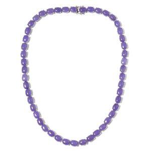 Burmese Purple Jade Sterling Silver Necklace (18 in) TGW 129.00 cts.