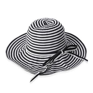 Black and White 100% Paper Straw Strip Floppy Sun Hat with Bowknot (One Size)