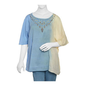 Blue Ombre Embroidered Kaftan (28x39 in, 100% Cotton)