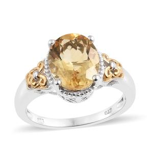 Brazilian Citrine 14K YG and Platinum Over Sterling Silver Ring (Size 7.0) TGW 4.50 cts.