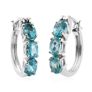 Madagascar Paraiba Apatite Platinum Over Sterling Silver Earrings TGW 2.50 cts.