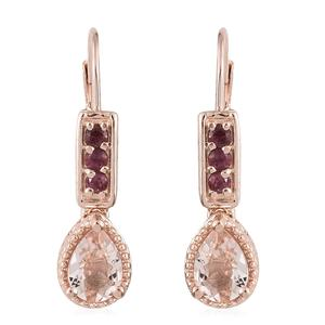 Marropino Morganite, Morro Redondo Pink Tourmaline Vermeil RG Over Sterling Silver Latch Back Earrings TGW 1.40 cts.