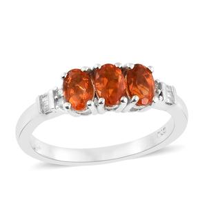 Jalisco Fire Opal, Diamond Platinum Over Sterling Silver Ring (Size 5.0) TDiaWt 0.07 cts, TGW 0.92 cts.