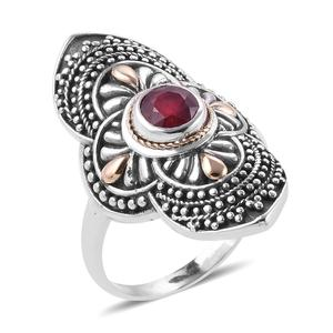 Bali Legacy Collection 18K YG Niassa Ruby Sterling Silver Ring (Size 7.0) TGW 1.13 cts.