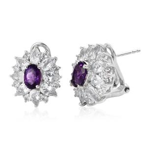 Moroccan Amethyst, White Topaz Platinum Over Sterling Silver Omega Clip Earrings TGW 5.50 cts.