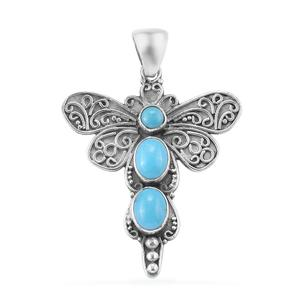 Bali Legacy Collection Arizona Sleeping Beauty Turquoise Sterling Silver Dragonfly Pendant without Chain TGW 3.45 cts.