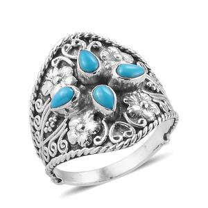 Bali Legacy Collection Arizona Sleeping Beauty Turquoise Sterling Silver Floral Ring (Size 7.0) TGW 0.86 cts.