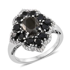 Shungite, Multi Gemstone Platinum Over Sterling Silver Ring (Size 7.0) TGW 4.35 cts.