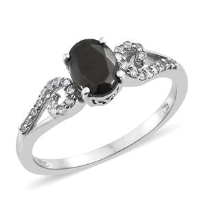 Shungite, Cambodian Zircon Platinum Over Sterling Silver Ring (Size 8.0) TGW 1.10 cts.