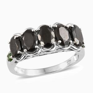 Shungite, Russian Diopside Platinum Over Sterling Silver Ring (Size 7.0) TGW 2.78 cts.