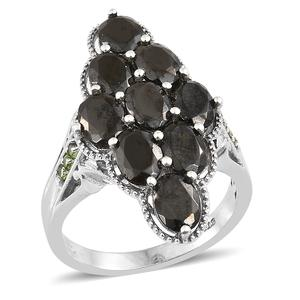 Shungite, Russian Diopside Platinum Over Sterling Silver Ring (Size 10.0) TGW 4.68 cts.