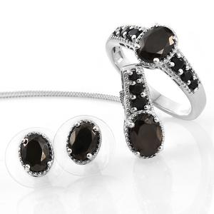Shungite, Thai Black Spinel Platinum Over Sterling Silver Earrings, Ring (Size 9) and Pendant With Chain (20 in) TGW 3.46 cts.