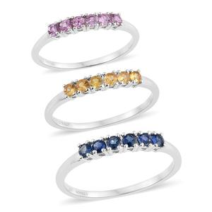 Set of 3 Multi Sapphire Platinum Over Sterling Silver 6 Stone Line Rings (Size 8) TGW 1.35 cts.