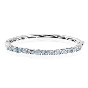 KARIS Collection - Sky Blue Topaz Platinum Bond Brass Bangle (7.25 in) TGW 6.40 cts.