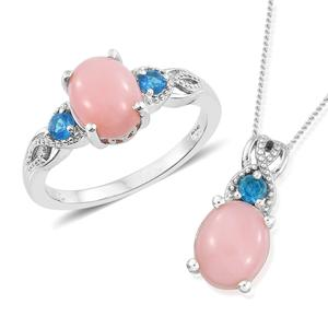 Peruvian Pink Opal, Malgache Neon Apatite Platinum Over Sterling Silver Ring (Size 5) and Pendant With Chain (20 in) TGW 4.35 cts.
