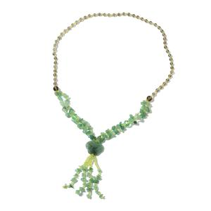 One Time Only Green Aventurine, Multi Gemstone Silvertone Necklace (28 in) TGW 364.75 cts.