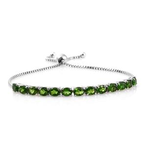 Russian Diopside Platinum Over Sterling Silver Bolo Line Bracelet (Adjustable) TGW 4.75 cts.