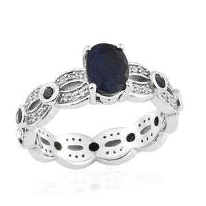 Madagascar Blue Sapphire, Multi Gemstone Platinum Over Sterling Silver Ring (Size 7.0) TGW 2.57 cts.