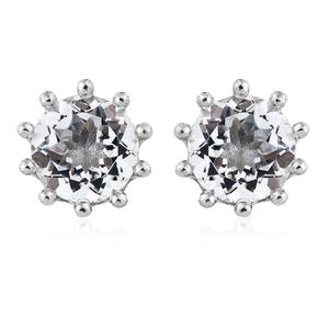 White Topaz Platinum Over Sterling Silver Earrings TGW 9.15 cts.