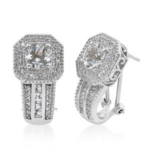Brazilian Goshenite, White Topaz Platinum Over Sterling Silver Earrings TGW 3.79 cts.