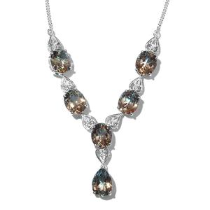 Aqua Terra Costa Quartz, White Topaz Platinum Over Sterling Silver Necklace (18 in) TGW 35.15 cts.