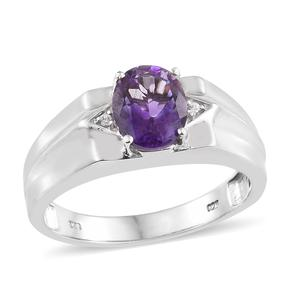Moroccan Amethyst, Cambodian Zircon Platinum Over Sterling Silver Men's Signet Ring (Size 12.0) TGW 2.54 cts.