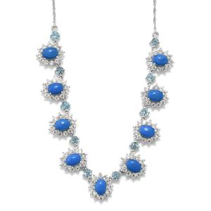 Ceruleite, Multi Gemstone Platinum Over Sterling Silver Necklace (18 in) TGW 11.70 cts.