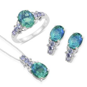 Peacock Quartz, Tanzanite Platinum Over Sterling Silver Earrings, Ring (Size 10) and Pendant With Chain (20 in) TGW 10.94 cts.