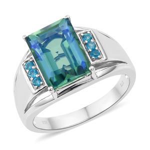 Peacock Quartz, Malgache Neon Apatite Platinum Over Sterling Silver Men's Ring (Size 12.0) TGW 8.25 cts.
