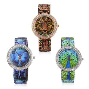STRADA Set of 3 Creature Couture White Austrian Crystal Doultone Japanese Movement Water Resistant Bracelet Watch with Stainless Steel Strap and Back (Stretchable)