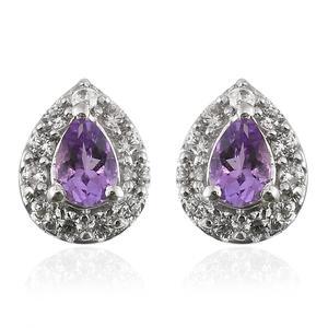 Rose De Maroc Amethyst Stud Earrings in Platinum Over Sterling Silver 1.89 cttw
