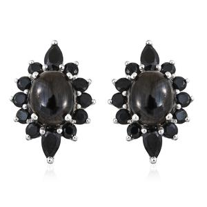 Shungite, Thai Black Spinel Platinum Over Sterling Silver Earrings TGW 6.26 cts.