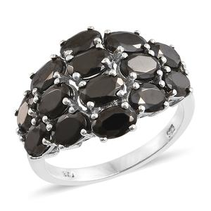 Shungite Platinum Over Sterling Silver Cluster Ring (Size 7.0) TGW 4.20 cts.