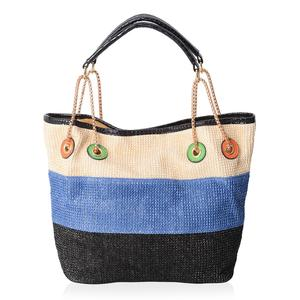 Natural, Blue & Black Straw and Polyester Tote Bag (12.5x6x10 in)