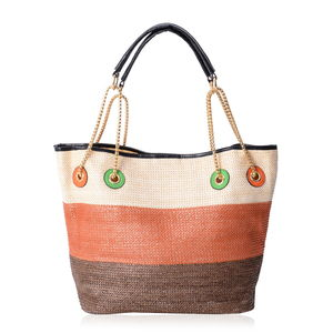 Natural, Orange & Brown Straw and Polyester Tote Bag (12.5x6x10 in)