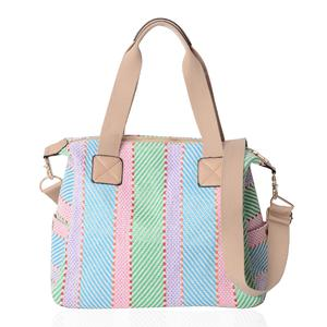 Multi Color Straw and Polyester Tote Bag (15x6x10.5 in)