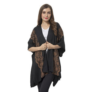 Black 100% Polyester Emboridered with Flower Pattern Kimono (29.52x35.44 in)