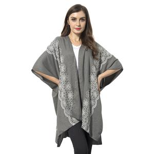 Gray 100% Polyester Emboridered with Flower Pattern Kimono (29.52x35.44 in)